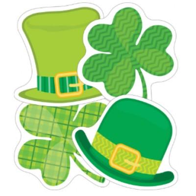 Collection St-Patrick: Décorations Cartonnées 8 cm - Trèfles et Chapeaux