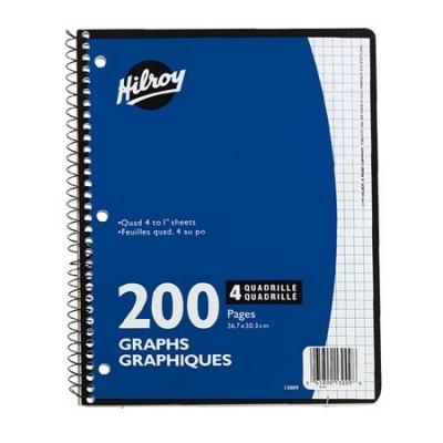 Cahier quadrillé à spirale: 200 pages