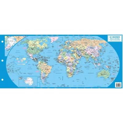 Carte du Monde - Pays et Capitales (Pour Cartable)