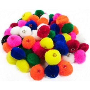 Pompons Enfilables 1″ Couleurs assorties /100