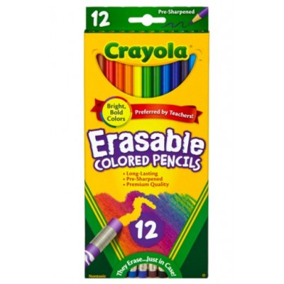 Ensemble de Crayons de Couleur en Bois Effaçables : 12