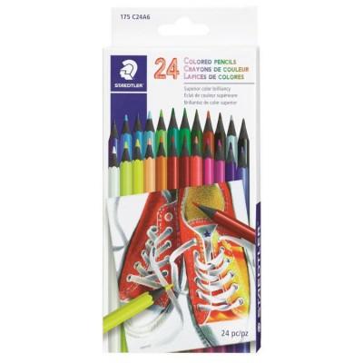Ensemble de Crayons de Couleur en Bois: 24