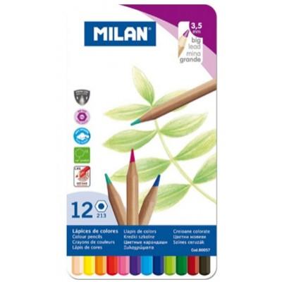 Ensemble de Crayons de Couleur en Bois Milan : 12