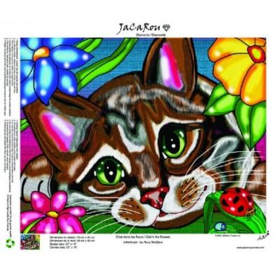 Diamond Art Jacarou - Chat dans les Fleurs