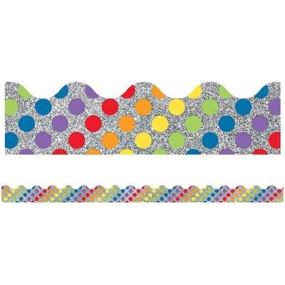 Bordure : Points colorés sur Fond Scintillant