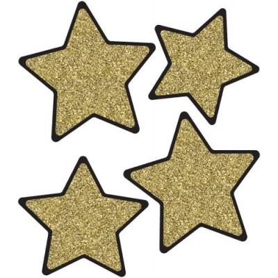 Décoration 15 cm : Étoiles Scintillantes Noires et Or