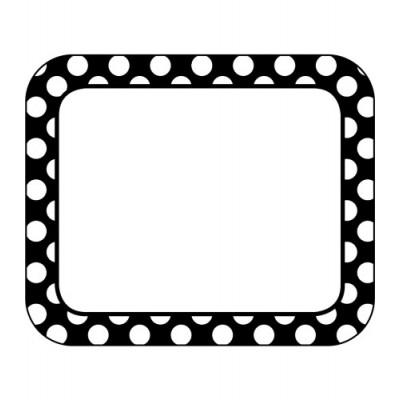 Collection Schoolgirl Style - Étiquettes de Nom Autocollantes : Pois Blancs sur Noir