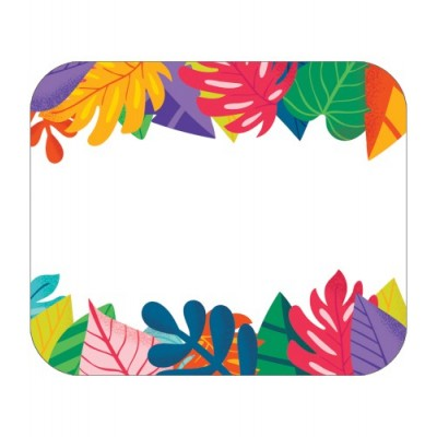 Collection One World - Étiquettes de Nom Autocollantes : Feuilles Tropicales Colorées