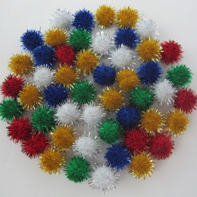 "Pompons 1/2"" Assortis Brillants /100"