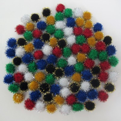 "Pompons 1/4"" Assortis Brillants /50"
