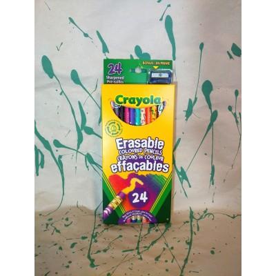 Ensemble de crayons de couleurs en bois effaçable: 24
