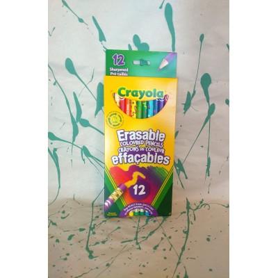 Ensemble de crayons de couleurs en bois effaçable: 12