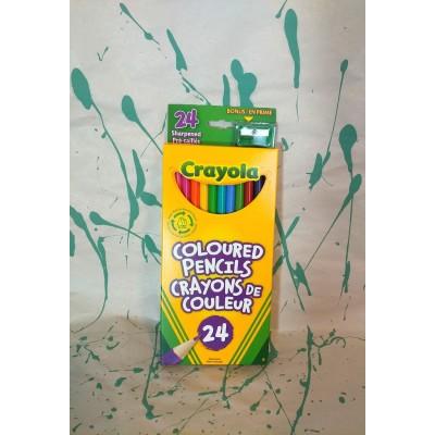 Ensemble de crayons de couleurs en bois: 24