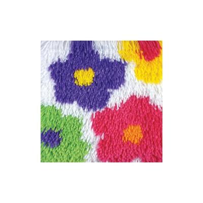 """Crochet """"Shaggy"""" - Fleurs 30x30cm"""