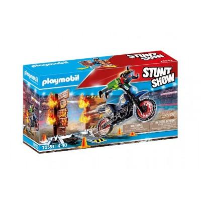 Playmobil - Stuntshow Pilote de moto et mur de feu #70553