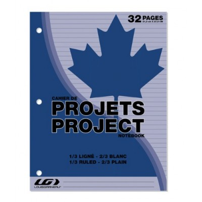 Cahier Projets 1/3 Ligné 32 pages
