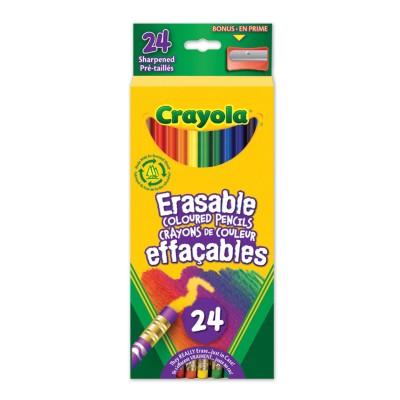 Ensemble de Crayons de Couleur en Bois Effaçables : 24