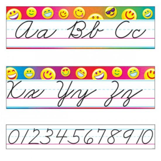 Bordure décorative: émoticône et lettres cursives