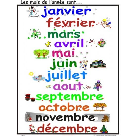 Affiche : Les mois de l'année