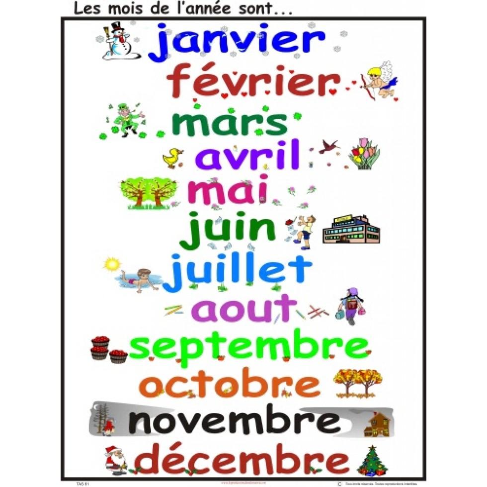 Affiche les mois de l 39 ann e for Dans 6 mois en anglais