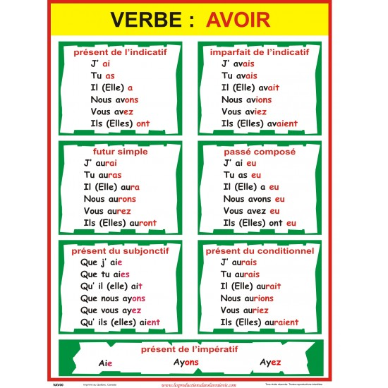 Affiche verbe: avoir (plusieurs temps disponibles)