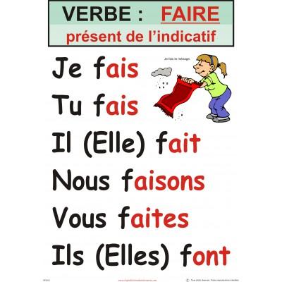 Affiche verbe: faire (plusieurs temps disponibles)