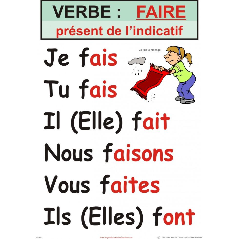 Affiche verbe : Faire (plusieurs temps disponibles)