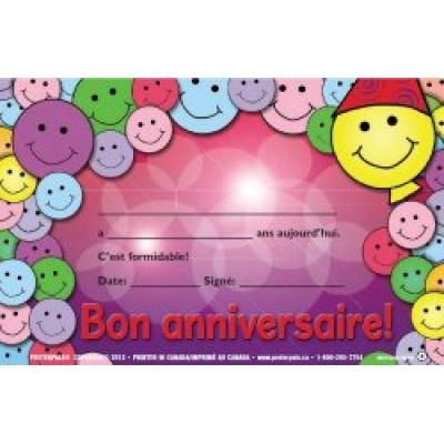 Certificats : Bon anniversaire!