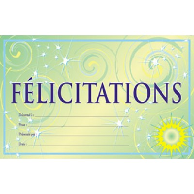 Certificats : Félicitations